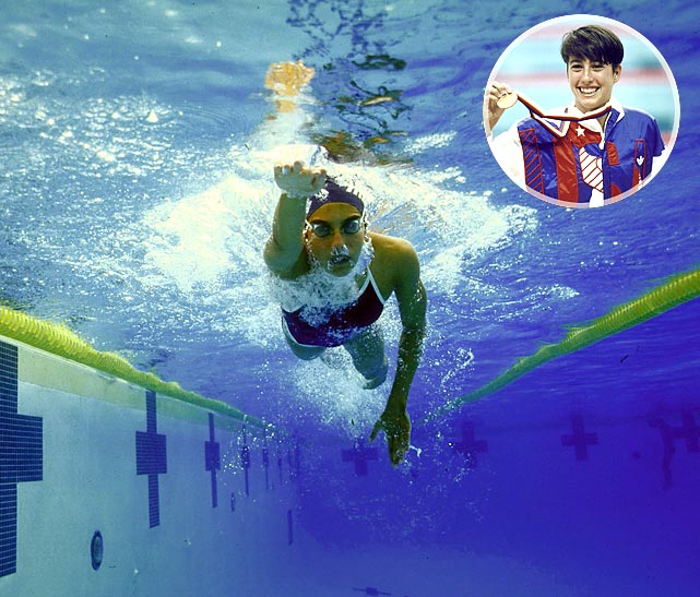 "There has yet to be another swimmer to reach Janet Evans' success in the distance events. For eight straight years, Evans did not lose in the 800m freestyle and the 1,500m freestyle at any level of competition. At the 1988 Olympics in Seoul, Evans was the underdog against dominant distance swimmers from East Germany; at just 16 years old and 5'5"", she appeared to be a fraction of their size. However, Evans grabbed gold in the 400m freestyle (in world record time), 800m freestyle (in Olympic record time) and the 400m individual medley. Evans is training to make a comeback for the 2012 Olympics in the 400m and 800m freestyles."