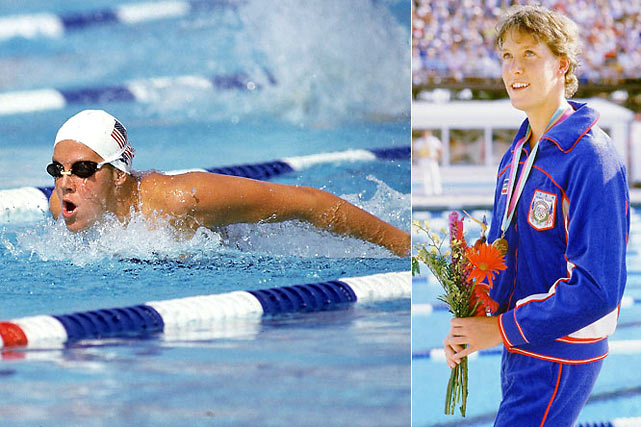 Tracy Caulkins' versatility as a swimmer still remains unmatched to this day. She won national titles in all four strokes as well as in the individual medley. She won five gold medals and a silver at the 1978 world championships, but missed her opportunity for Olympic glory when the U.S. boycotted the 1980 Games. She finally earned her hardware at the 1984 Olympics, when she won the 200- and 400-meter individual medleys and swam a leg of the U.S.' gold-medal-winning medley relay.