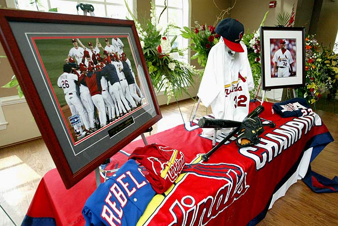 The Cardinals reliever was killed on April 29, 2007, when the Ford Explorer he was driving crashed into the rear of a flat bed tow truck that was assisting another vehicle.