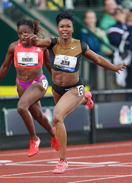 Amid the third-place drama, Carmelita Jeter cruised to a victory in the women's 100 meters. Jeter, the fastest American woman since 2009, is looking for her first Olympic medal.
