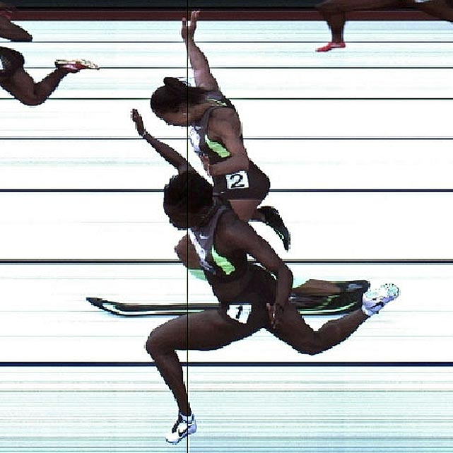 A photo of the finish line at the women's 100 meters couldn't break the third-place tie between Allyson Felix (top) and Jeneba Tarmoh. The top three in each event advance to London, making the tiebreaker that much more important. With no official tiebreaking protocol in place, Felix and Tarmoh were given two options to determine the victor: a coin flip or a runoff.