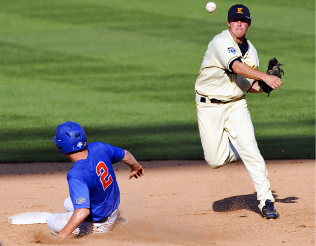 Kent State ousted top-seeded Florida from the College World Series with a 5-4 victory. The Golden Flashes scored four unearned runs and picked up another on a wild pitch. The Gators became the 13th straight No. 1 seed to leave Omaha without the championship.