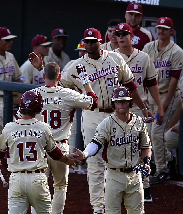 The Seminoles capitalized on a throwing error to fuel a six-run third inning and end Stony Brook's surprise appearance in the CWS. Devon Travis went 3-for-3 with three runs scored and three RBIs for Florida State, which will face UCLA on Tuesday in an elimination game.