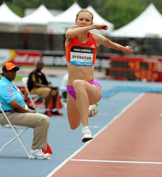 Olga Rypakova won the women's triple jump with a final jump of 14.71 meters.