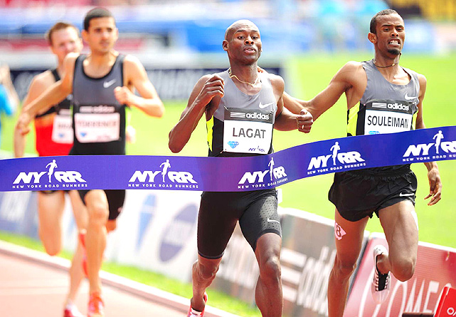 Bernard Lagat pulled out his trademark finishing kick to beat Ayanleh Souleiman (right) by just .1 seconds to win the men's 1500 meters.