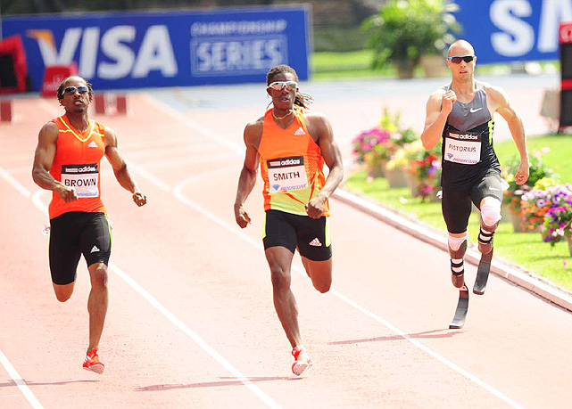 South Africa's Oscar Pistorius, stuck in the outside lane, still didn't quite hit the time in the men's 400 meters that he needs to qualify for South Africa's Olympic team. However, he hopes to improve and hopefully earn a spot on South Africa's team in the last few weeks before the Games start.