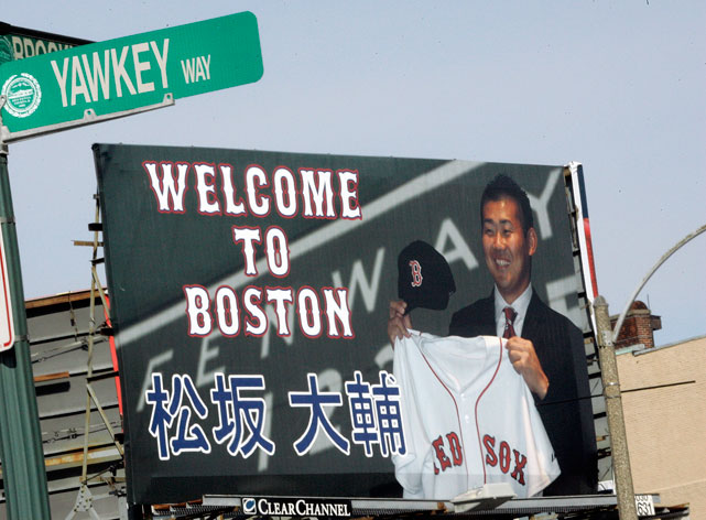 A billboard welcoming recently introduced Japanese pitcher Daisuke Matsuzaka to the Red Sox stands near Boston's Fenway Park in February 2007. Dice-K made his Fenway debut in April of that season, a 3-0 loss to the Seattle Mariners. He finished the year 15-12 with a 4.40 ERA.