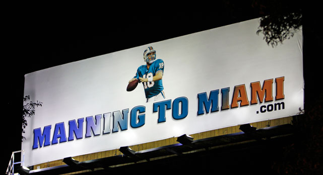 Hoping to win the Peyton Manning sweepstakes after rumors of an eventual divorce between the 14-year veteran quarterback and the Indianapolis Colts, Miami Dolphins fans produced this Photoshopped signage alongside I-595 in Ft. Lauderdale, Fla. in February 2012. The Colts cut Manning loose in early March and he spurned the Dolphins, instead choosing to sign with the Denver Broncos a little more than a week later.