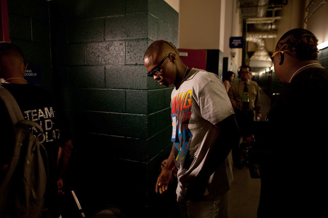There is a noticable change in Quillin's outgoing, extroverted demeanor when he enters the dressing room before a fight.