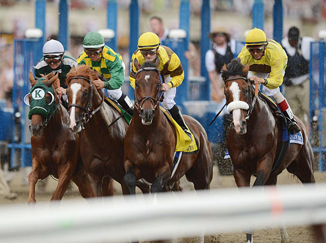 A crowd of 85,811, cheered as Paynter and Union Rags (right) furiously battled for the final jewel of horse racing's Triple Crown at Belmont Park.