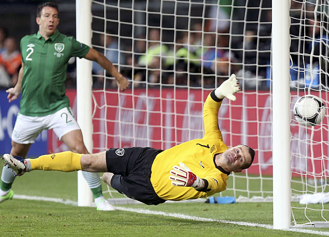 Ireland's goalkeeper Shay Given can't keep the ball out of net after Croatia's Mario Mandzukic headed it.  Croatia would go on to win its first game of the Euro 2012 by a score of 3-1.
