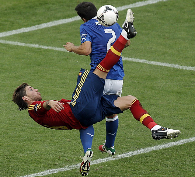 Spain's defender Sergio Ramos performs a bicycle kick during a Euro 2012 Group C match against Italy. The game ended in a 1-1 tie, with Cesc Fabregas scoring Spain's only goal for the day.