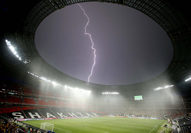 A breath-taking thunderstorm delayed the France vs. Ukraine Group D matchup for nearly an hour on June 15.  After the thunder and lightning passed, the French cruised to a 2-0 win.