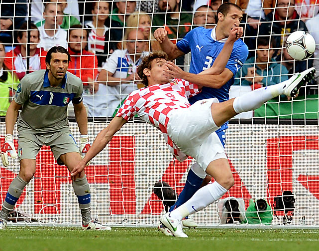 Croatian forward Nikica Jelavic attempts a circus shot in the face of Italian defender Girogio Chiellini.  The two Group C teams would eventually draw 1-1.