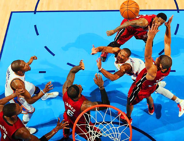 Russell Westbrook watches his shot soar towards the rim after getting clobbered in the lane during Game 1 of the NBA Finals.
