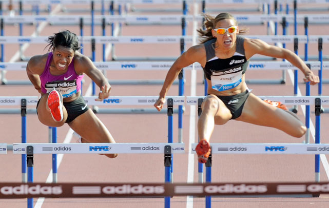 Jones clears a hurdle during the Adidas Grand Prix  en route to a time of 12.55 seconds.