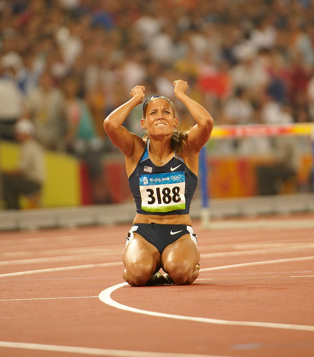 Jones appears near tears after a disappointing performance during the 100m hurdles final at the 2008 Summer Olympics. Jones tripped on the penultimate hurdle, losing her lead and finishing in 7th.