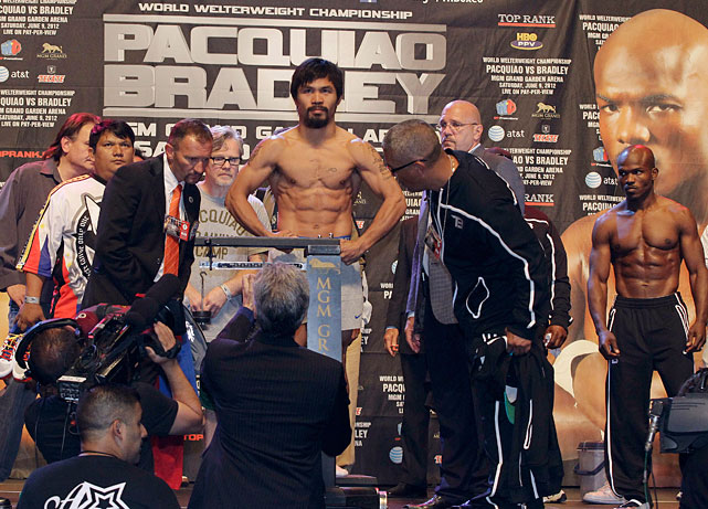 Pacquiao attended Friday's weigh-ins with a slimmed-down entourage compared to previous fights.