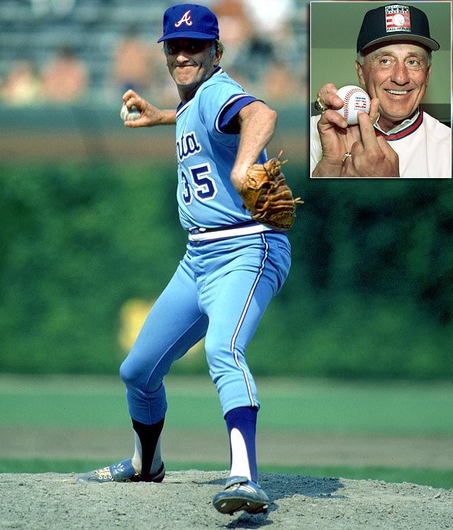 "Feared by opposing hitters and beloved in Atlanta, Phil Niekro was elected to the Hall of Fame in 1997 and leads all knuckleball pitchers with 318 career wins. Niekro pitched 21 of his 24 seasons for the Milwaukee/Atlanta Braves, and in that time led the National League in innings pitched and complete games four times, wins twice and ERA once. Niekro's knuckleball attained somewhat of a mythical reputation, prompting Bobby Murcer to claim that hitting the pitch was ""like eating Jell-O with chopsticks"" and Pete Rose to state that ""trying to hit that pitch is a miserable way to make a living."""
