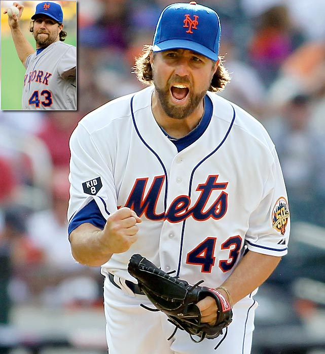 "Using baseball writer Rob Neyer's definition, this gallery includes any pitcher ""who would not have been in the majors without his knuckleball, or whose knuckleball was considered his best pitch, at least for a time.""   R.A. Dickey, the majors' only active knuckleball pitcher, became the first knuckleballer to win a Cy Young.  Dickey's career has completely transformed since he joined the New York Mets, a distinction owned by few players. Before joining the Mets in 2010, Dickey operated primarily as a spot starter and frequently bounced between Triple A and the majors, with modest single-season MLB highs for wins (nine), ERA (4.62) and WHIP (1.48). Since joining the Mets, he has set career highs in all of those categories.  In 2012, Dickey won 20 games (five of them complete, three of them shutouts) with a 2.73 ERA, 1.05 WHIP, and 230 strikeouts.   From May 27 through June 18, Dickey allowed no earned runs over five starts, and through 54.2 innings pitched he struck out 71 batters with just six walks."