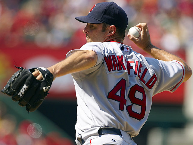 Initially a floundering first baseman in the Pittsburgh Pirates organization, Tim Wakefield resurrected his career by developing a knuckleball. As a rookie, he went 8-1 with a 2.15 ERA for the NL East-winning Pirates in 1992 and three years later he moved to the Red Sox, where he remained for the next 17 years of his career. Though he made only one All-Star team in his 19 seasons, Wakefield was known for his consistency and his willingness to pitch out of the bullpen even though he was a reliable starter. Wakefield started at least 30 games seven different times in his career with the Red Sox and, after several tries, earned his 200 th  win in 2011. It proved to be the last of his career. He finished with a 200-180 record and a 4.41 ERA.