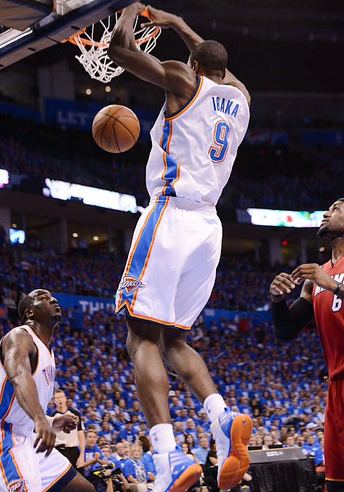 Serge Ibaka joined Durant and Westbrook as the only Oklahoma City players to score in double digits. Ibaka had 10 points, twice as many as James Harden.