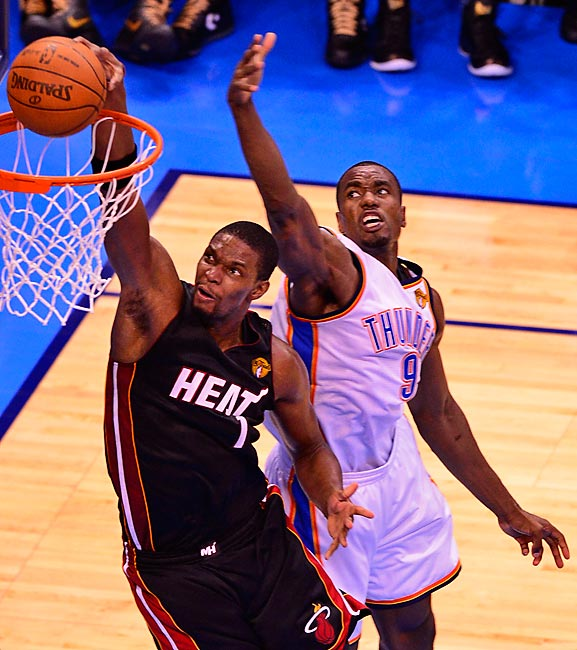In his return to the starting lineup, Chris Bosh scored Bosh scored 16 points and grabbed 15 rebounds.