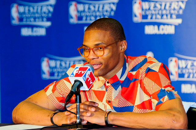 Russell Westbrook, wearing his now-trademark glasses and funky shirt look during the postgame interview, answers questions after a Western Conference Finals game against the San Antonio Spurs. Westbrook averaged just better than 18 points and seven assists in a spot under 39 minutes per game during the six-game series.