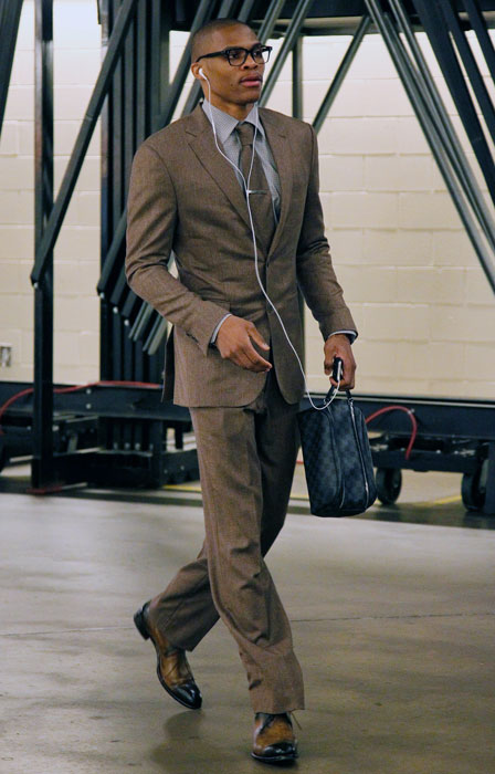 Dressed to impress, Westbrook arrives to the American Airlines Center in Dallas for Game 3 of the Western Conference first round playoffs. The Thunder defeated the Dallas Mavericks 95-79 on their way to a series sweep, 4-0.