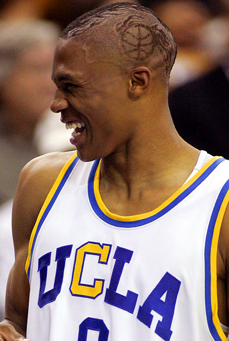 With an image of a basketball shaved into his hair, the sophomore Westbrook shares a laugh on the sidelines during a UCLA exhibition at Pauley Pavilion in Los Angeles versus Chico State in November 2007. The Bruins defeated their northern neighbors in a blowout, 93-55.