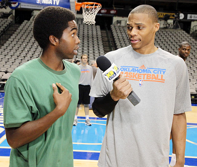 "Westbrook turns the tables on Daniel Curtis Lee, one of the stars of Disney's ""Zeke and Luther."" The actor was on hand at the 2011 NBA Finals to speak with several top NBA talents when Westbrook decided to take the interview into his own hands."