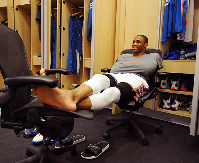 Westbrook takes a moment to put his feet up at Chesapeake Energy Arena in Oklahoma City before Game 4 of the 2012 Western Conference Finals against the San Antonio Spurs. Westbrook had 25 points and eight rebounds in an important 107-99 victory.
