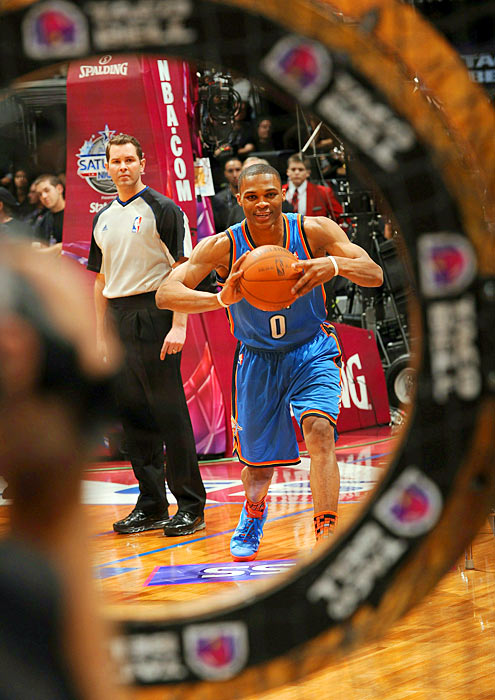 As a third-year player, Westbrook looks to hit his mark as part of the Taco Bell Skills Challenge at the 2011 NBA All-Star festivities at the Staples Center in Los Angeles. Westbrook finished second in the competition, posting a 30-second time in the final round, which was bested by two seconds by the champion, Golden State Warriors guard Stephen Curry.