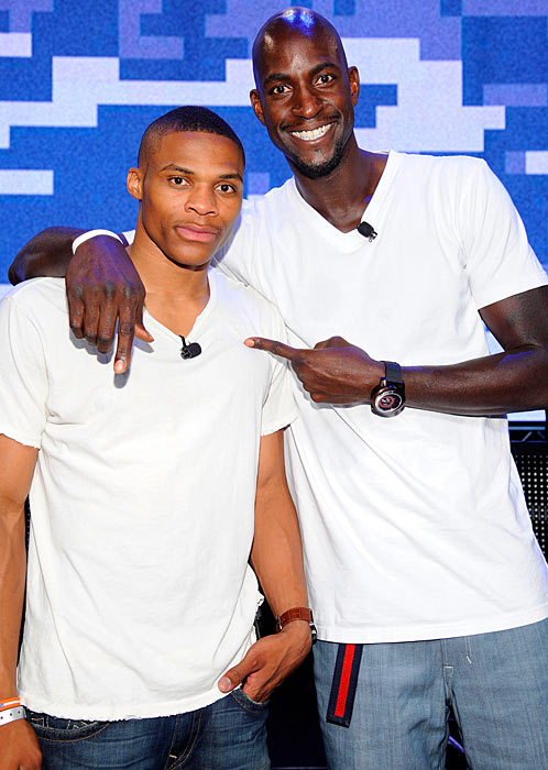 Westbrook strikes a pose with Boston Celtics big man Kevin Garnett at the Call of Duty XP video game contest in September 2011 in Los Angeles. The first of its kind, the event took place at the Stages at Playa Vista and was hosted by the game's producer, Activision.