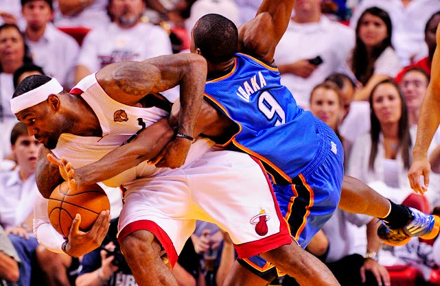 Serge Ibaka couldn't slow down LeBron James on this play.