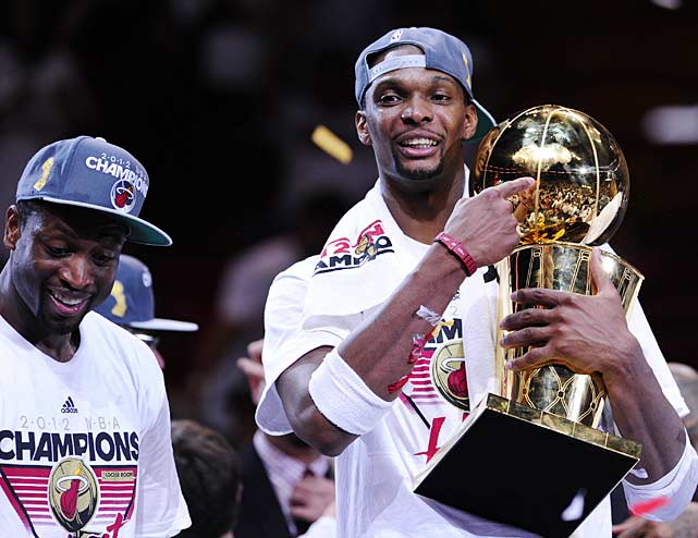 The title was the second for Wade and the first for Bosh and James.