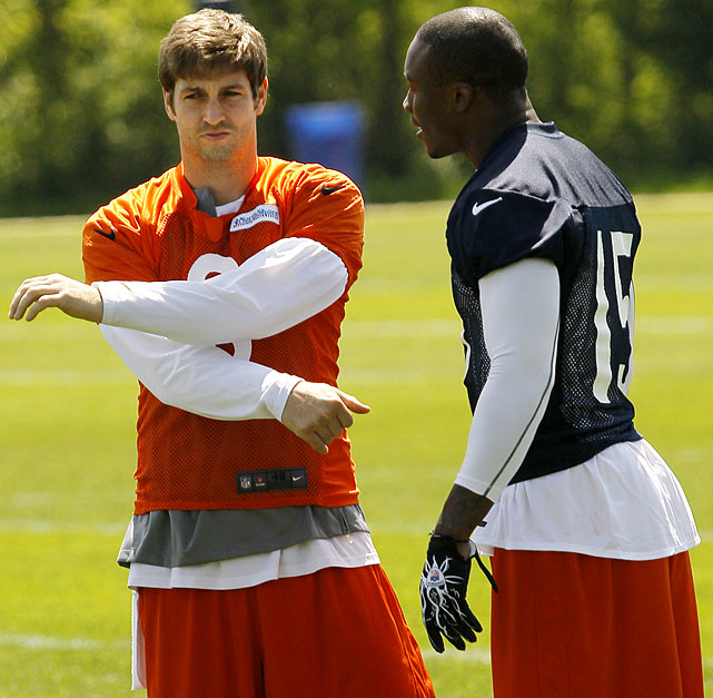 Ex-Dolphin receiver Brandon Marshall will take the field at the Olivet Nazarene University facility, where he will be reunited with his old quarterback, Jay Cutler, to hopefully jump start the Bears to another playoff appearance.