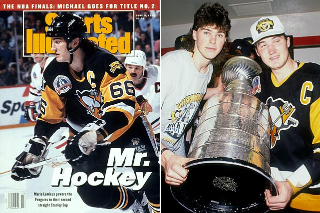 Mario Lemieux, Jaromir Jagr and the Penguins won their second successive Cup by making quick work of the Blackhawks, who came into the final riding a record 11 consecutive playoff wins. With their sweep, the Pens matched the mark, which goalie Tom Barrasso also shared with Chicago netminder Ed Belfour, as Lemieux became the second player in NHL history to win back-to-back Smythe trophies. (Flyers goalie Bernie Parent, in 1974 and '75, was the first.)