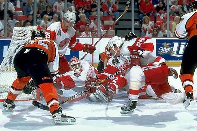 The Wings rolled to their first Cup since 1955 by taking out the Blues in six games, the Mighty Ducks in four, and the Avalanche in a six-game revenge rematch of the epic 1996 Western Conference Final before sweeping the Flyers.