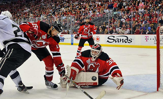 Devils goalie Martin Brodeur played a spectacular Game 5, posting 25 saves in the 2-1 win and even enjoyed an exchange of pleasantries after a scrum in which Jeff Carter of the Kings yanked Brodeur's sweater over his head.