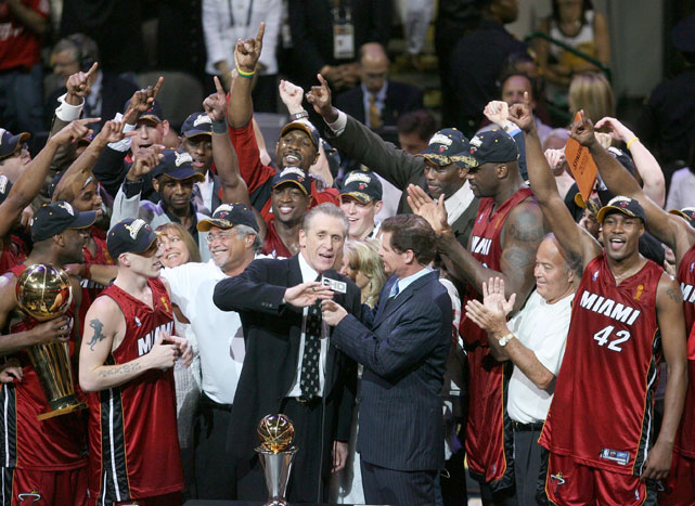 Riley takes to the microphone after his Miami Heat won the 2006 NBA title. It was the last of five NBA Championships won in his career and the only one he did not win as coach of the Los Angeles Lakers.
