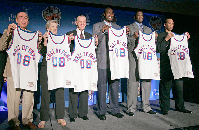 Riley is inducted to the Naismith Memorial Basketball Hall of Fame along with Dick Vitale, Cathy Rush, Hakeem Olajuwon, Patrick Ewing and Adrian Dantley in 2008 in San Antonio.