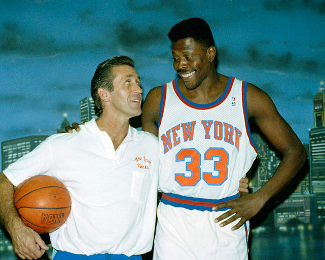Riley and Patrick Ewing stare kindly at one another during a photo shoot in 1991. Ewing would finish fifth in MVP voting that season, averaging 24 points per game, 11 rebounds and three blocks per game. The Knicks eventually lost in seven games to the Chicago Bulls in the Eastern Conference Semifinals.