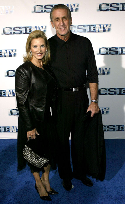 Riley and his wife Chris attend the premiere of  CSI: NY  at the Ed Sullivan Theater in New York City in 2004.