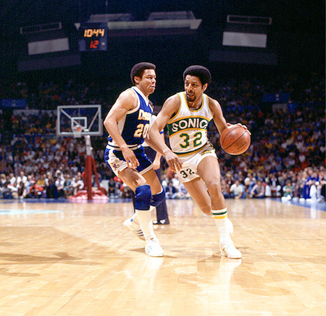 Fred Brown breaks away from the Denver Nuggets during a 1978 game. Brown was the sixth pick in the 1971 draft and captain of the Sonics' NBA championship team in 1978-79.