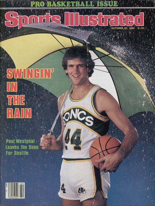 Guard Paul Westphal sports a grin and a requisite umbrella for SI's 1980 basketball preview, after leaving the Phoenix Suns for Seattle for that season. Westphal played only the one NBA season of his 12 with the Sonics, averaging just better than 20 points per game in leading the team to a Conference Finals loss to the L.A. Lakers.