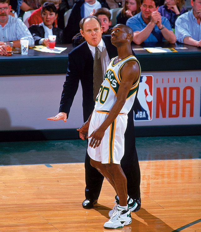 Head coach George Karl gives instruction on the court to guard Gary Payton at Seattle's Key Arena during a game against the Phoenix Suns in 1994. The two paired up for six full seasons, their best showing an NBA Finals series loss the Chicago Bulls, 4-2, during the 1995-96 season.