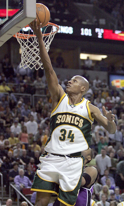 Ray Allen scores against the Sacramento Kings during Game 5 of their first round playoff series. The Sonics defeated the Kings to win the series, with Allen leading the Sonics scoring with 30 points. In 2006, Allen reached