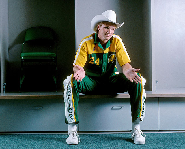 Sonics forward Tom Chambers shows off his cowboy spirit in the Seattle Coliseum.  A first-round draft pick in 1981 by the Clippers, Chambers played five seasons in Seattle.