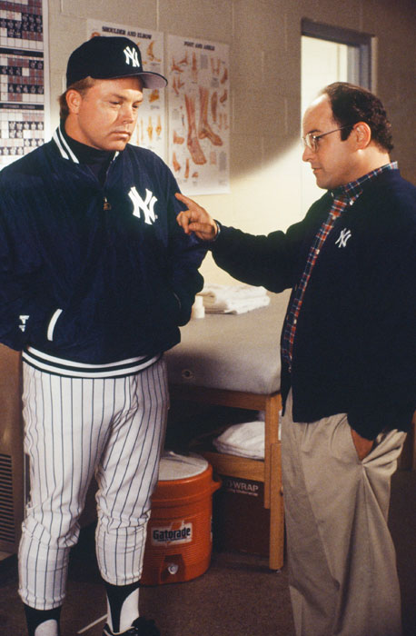 Buck Showalter, who managed the Yankees from 1992-95, interacts with Jason Alexander on the set of  Seinfeld  in 1994.
